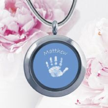 Circular Glass Double-Sided Hand and Foot Print Pendant - Coloured Background - Baby Handprints and Footprints Keepsake